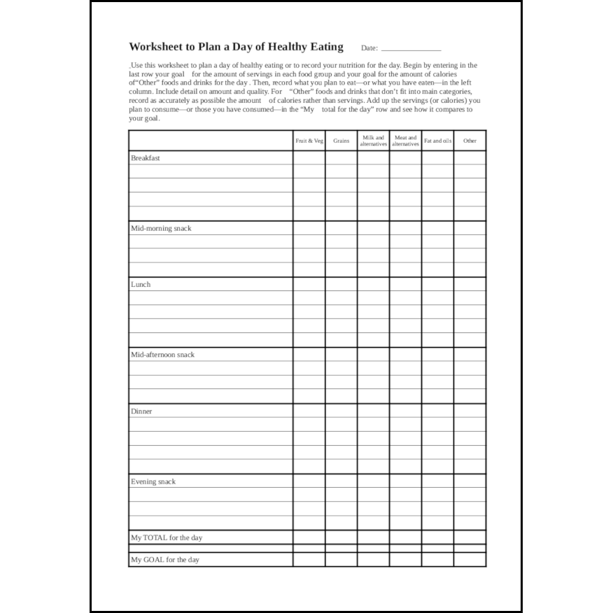 Worksheet to Plan a Day of Healthy Eating15